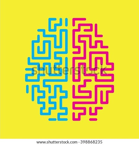 Top view Human brain vector illustration on yellow background - stock vector