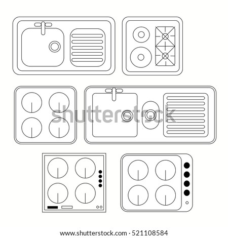top view kitchen elements furniture symbols on cad architecture home design free download