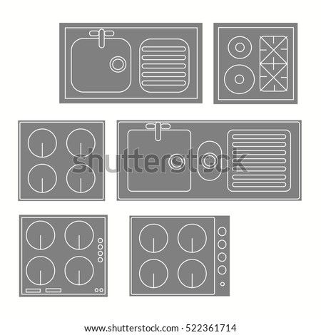 Top View Kitchen Elements Furniture Symbols 스톡 벡터 사용료 없음