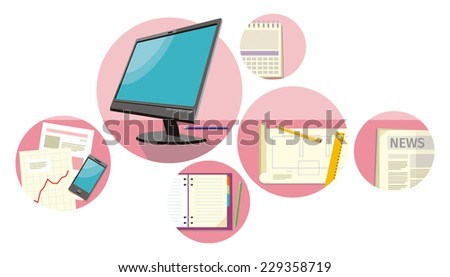 Top view monitor computer, notepad, pen over papers with numbers and charts on a desktop in office. View from above - stock vector