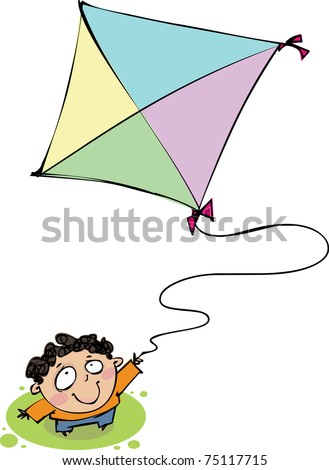 Top view of a boy with a kite - stock vector