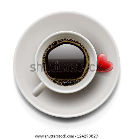 Top view of a cup of coffee on white background with heart. Valentine's day