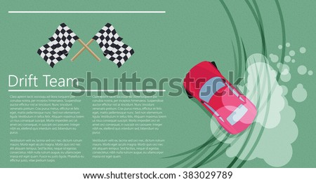 Top view of a drifting car - stock vector