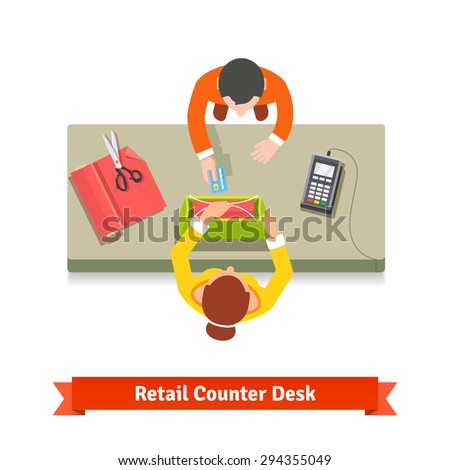 Top view of a retail sale. Clerk giving shopping bag to a customer and taking credit card. Flat style vector illustration isolated on white background. - stock vector