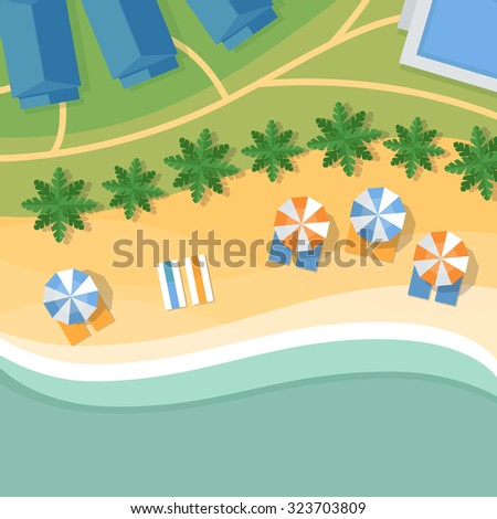 Top view of a tropical beach. Palm trees, umbrellas and lounge chairs on the beachfront. Summer holiday. Vector Illustration, flat design style. - stock vector
