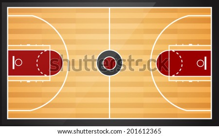 Top view of basketball court vector illustration - stock vector