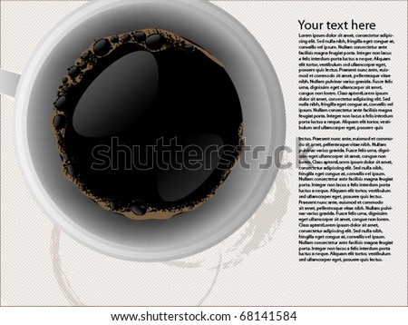 Top view of black coffee cup - stock vector