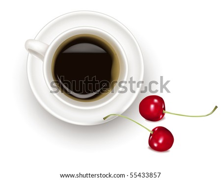 Top view of black coffee cup with cherries isolated on white background. Photo-realistic vector. - stock vector