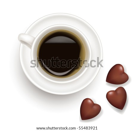 Top view of black coffee cup with chocolate isolated on white background. Photo-realistic vector - stock vector