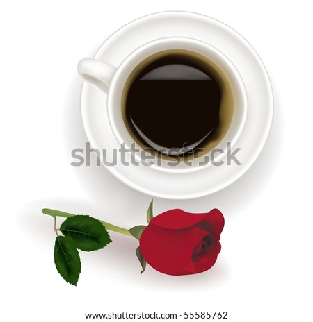 Top view of black coffee cup with red rose. Photo-realistic vector. - stock vector