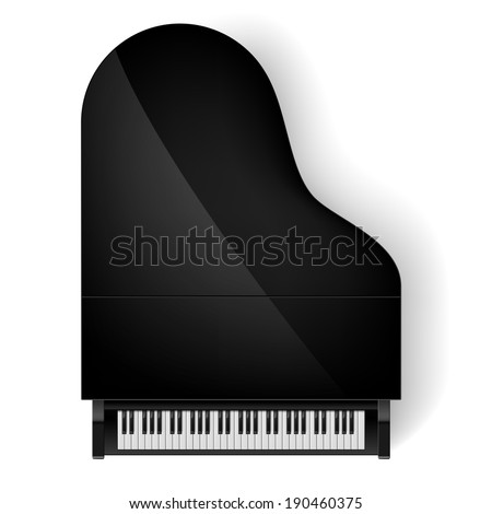 Top view of black grand piano on white background - stock vector