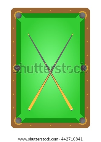 Top view of brown wooden billiard table with green cloth and green rinks and two crossover cues pool table - stock vector