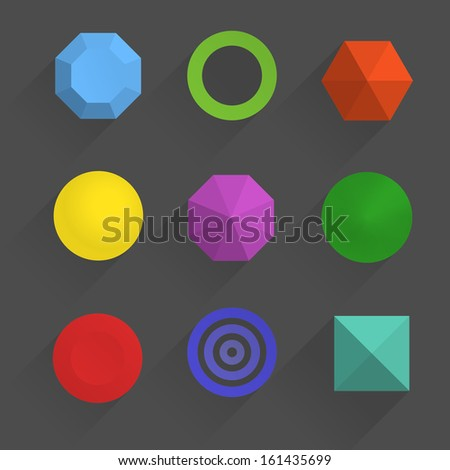 Top view of color geometric figures with shadows - stock vector