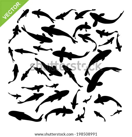 Top view of fish silhouettes vector  - stock vector