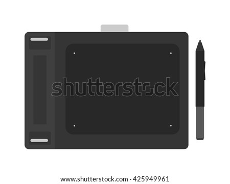 Top view of graphic tablet with pen for illustrators and designers graphics tablet. Graphics tablet isolated on white background. Graphics tablet digital equipment drawing computer pen designer. - stock vector