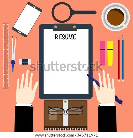 Stock Illustrations of A man holding a resume and a no suits     Free Creative Resume Templates Microsoft Word   Resume Regarding Free  Microsoft Word Resume Templates