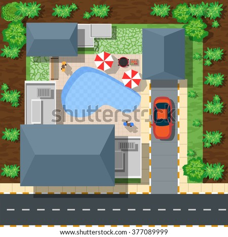 Top view of houses and streets with trees. Vector village and park landscape from top flat graphic