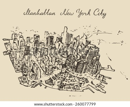Top view of Manhattan, (new York, United States), hand drawn vector illustration, sketch, engraved style - stock vector