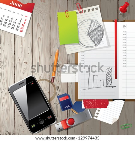 Top view of office work place - stock vector