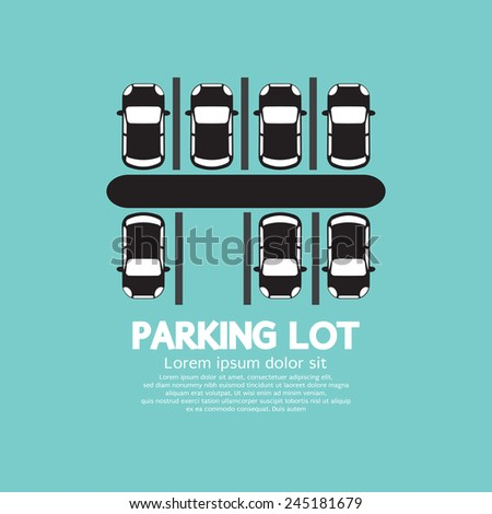 Top View Of Parking Lot Vector Illustration - stock vector