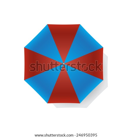 Top view of red and blue beach umbrella isolated on white background. Vector illustration. - stock vector