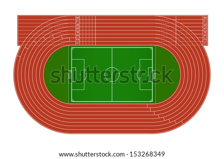 Top view of running track and soccer field - stock vector