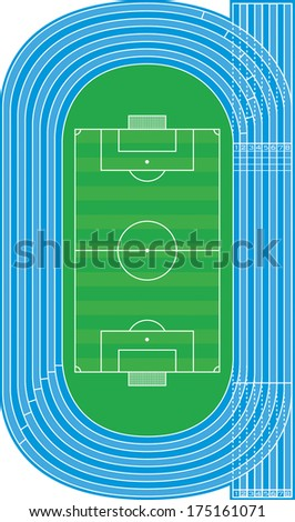 Top view of running track and soccer field on white - Vector illustration - stock vector