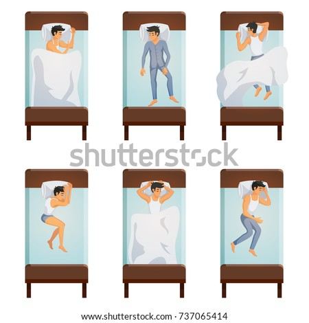 single bed top view. top view of single bed with sleeping men in different poses decorative icons set isolated vector e