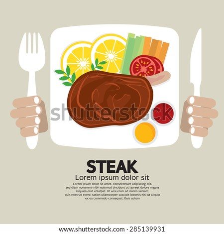 Top View Of Steak Plate Vector Illustration - stock vector