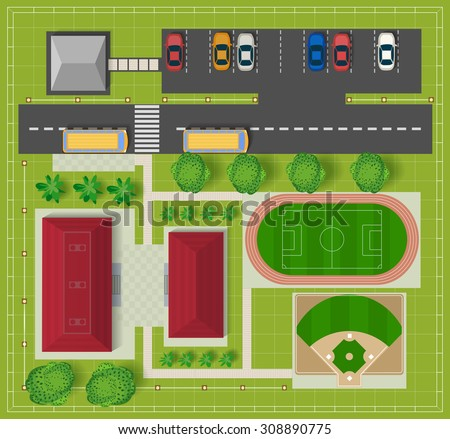 Top view of the city from the school buildings, a football field and baseball diamond - stock vector