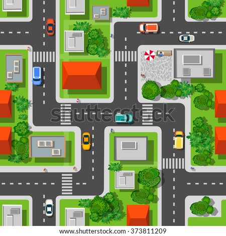 Top view of the city seamless pattern of streets, roads, houses, and cars - stock vector