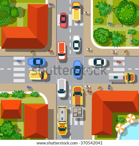 Top view of the city. Urban crossroads with cars and houses, pedestrians. - stock vector