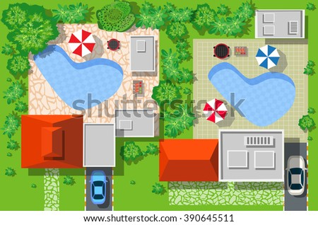 Top view of the city. View from above of a country cottage with cars and houses. - stock vector