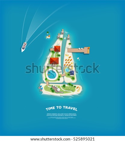 Top view of the island in the form of a sailing ship. Time to travel and vacations poster. Holiday trip. Travel and tourism.