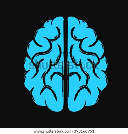 Top view of the vector blue human brain. - stock vector