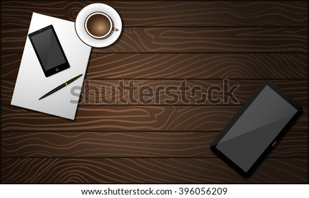 Top view of the wooden working place with the pen, blank white paper, coffee, tablet  and  mobile phone - stock vector