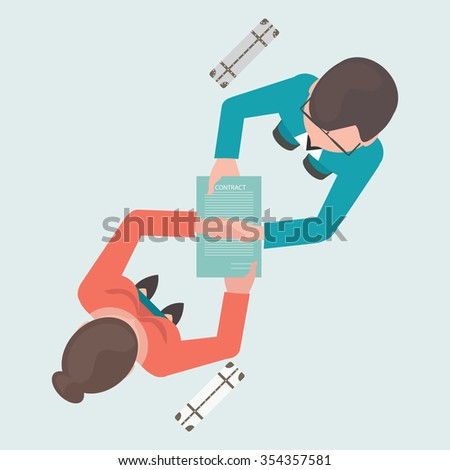 Top view of two business people shaking their hands on contract paper after agreement , successful partnership conceptual vector illustration.  - stock vector