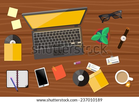Top view of wood workplace with laptop, cd, smartphone, watch and documents with charts and graphs on wood table - stock vector