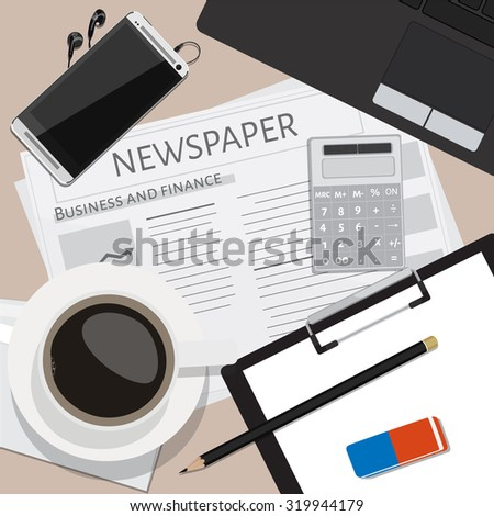 Top view of working place with elements on wooden table background pencil, eraser, smartphone, calculator, envelope, cup of coffee newspaper and laptop. Workplace