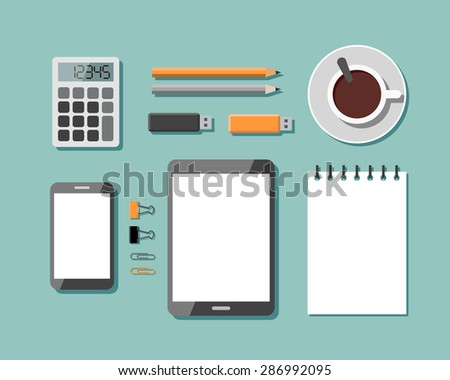 Top View of Workplace with Business Work Flow Items and Gadgets. Flat design vector illustration - stock vector
