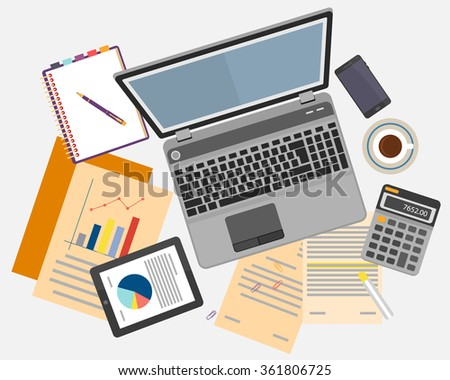 Top view of workplace with documents and laptop. Concepts for business analysis, consulting, teamwork, project management, financial report and strategy. Vector illustration.  - stock vector