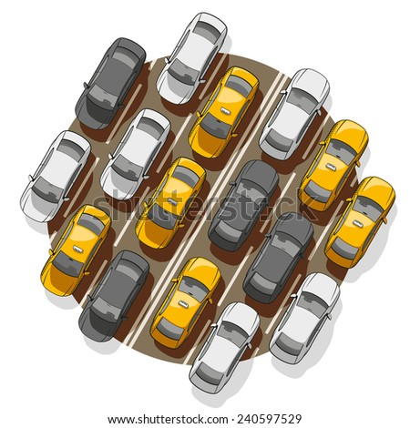 Top view on a lot of cars standing in a traffic jam. - stock vector