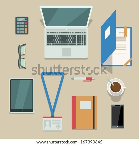 Top view on office workplace with mobile devices and documents isolated vector illustration - stock vector