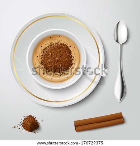 Top view on realistic white cup filled with cappuccino decorated by chocolate crumbs vector illustration - stock vector