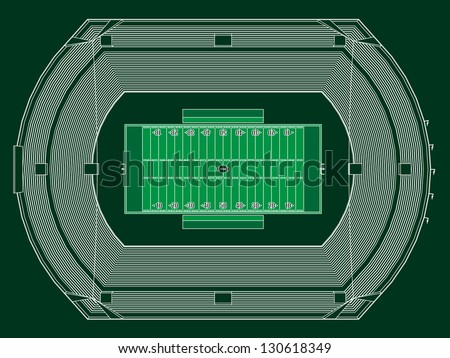 Top view on Stadium for American Football.