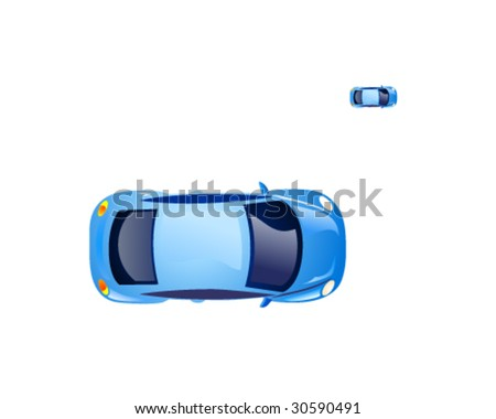 Top view on the blue retro beetle car. Vector icon. - stock vector