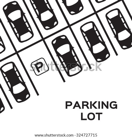 Top View Parking lot design. Many cars parked. Vector Illustration.   - stock vector