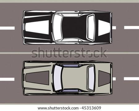 Top view  retro car - stock vector
