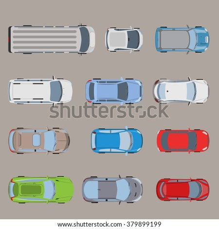 Top view road transport vehicle car automobile van bus micro SUV sedan wagon truck roadster sportscar icon set. Flat style creative web site vector illustration. - stock vector