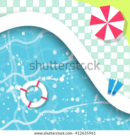 Top View Swimming pool. Rest time. Summer. Water beach vacation. Pool with clear water. Vector design illustration - stock vector